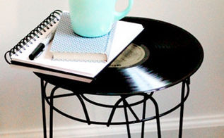 four unique side tables, home decor, painted furniture, Old Record If you have an old record in your collection that you don t mind upcycling turn it into a table Can t stand to part with any of your beloved vinyl