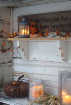 autumn rainy days candles, repurposing upcycling, seasonal holiday d cor, The candles are lit and glow on an Autumn rainy day