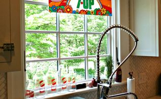 q i love an unexpected window treatment what do you use, home decor, window treatments, windows, 1970 s Peter Max 7 Up sign as window treatment See more pics here