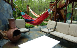 love spring makes laying out in the hammock beautiful, decks, gardening, outdoor living, Mexican Chimenea and Hammocks perfect weather for both
