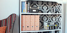 diy project of the week wallpaper your furniture, home decor, painted furniture, Wallpaper the inside of a shelving unit or cabinet