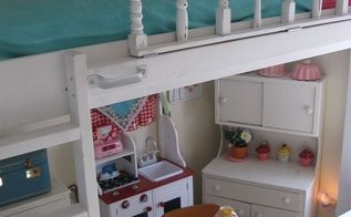 lofted cottage bed for our little girl s dream room, bedroom ideas, diy, home decor, painted furniture, repurposing upcycling, We added painted metal handles the railing is not used for support when climbing up and down the ladder