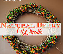 diy a natural berry wreath for fall, crafts, gardening, wreaths, Natural Pyracantha Berry Wreath