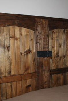 how to build a rustic barn door headboard, bedroom ideas, doors, home decor, woodworking projects, Our completed new old barn door headboard