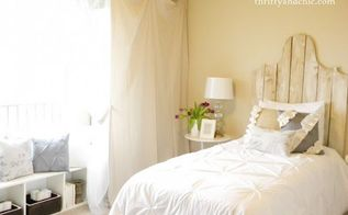 creating a double duty guest room, bedroom ideas, Thrifty and Chic has divided her guest room into zones allowing her to tuck the home office away when she has visitors