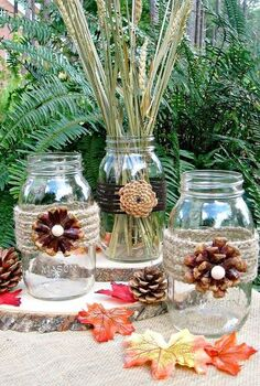 creating pine cone flowers for fall decorating, crafts, mason jars, seasonal holiday decor, thanksgiving decorations, These pine cone flower vases would be perfect for your fall decor and then onto Thanksgiving
