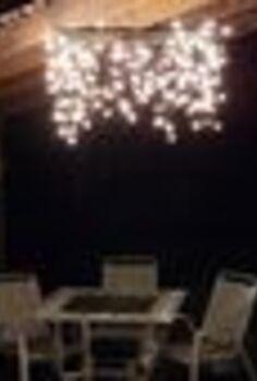 outdoor lighting, lighting, outdoor living, A Hula Hoop Chandelier brightens our patio