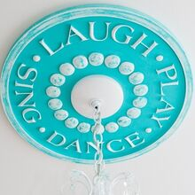 how to paint a ceiling medallion for kids rooms, crafts, painting, shabby chic, Children s Ceiling Medallion shown in custom color Tiffany Blue