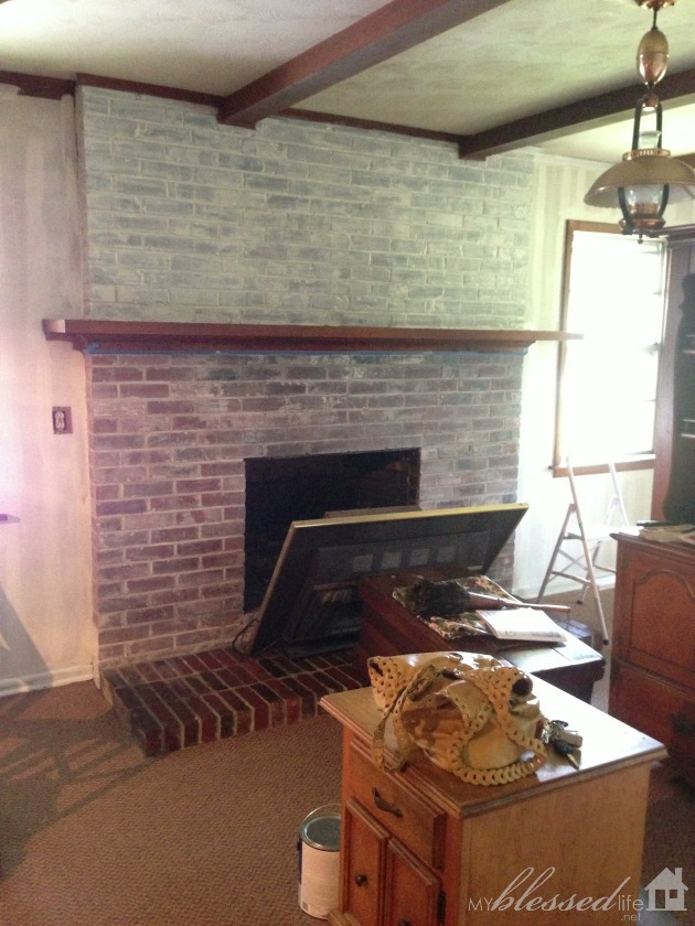 Transform A Brick Fireplace With A White Wash {Before & After ...
