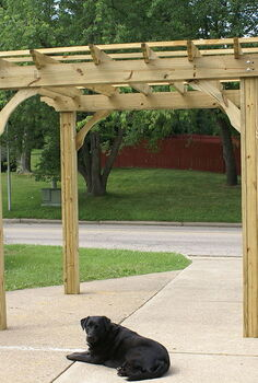 how our farm s little pergola was built, outdoor living, woodworking projects, The pergola after we built it in the driveway