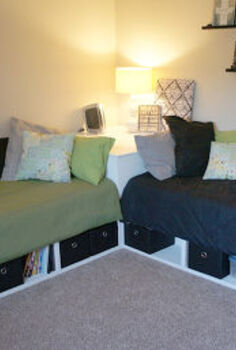 diy corner storage beds, bedroom ideas, diy, painted furniture, storage ideas, The completed corner beds