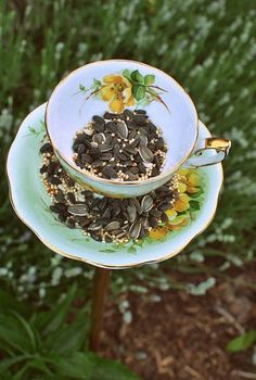 make a diy teacup birdfeeder, gardening, repurposing upcycling
