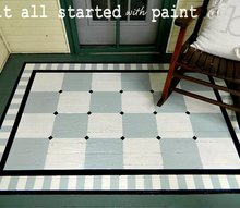 painted on front porch rug, painting, porches, Porch Rug Painted onto Landing