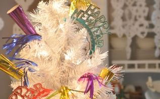 new years decorating ideas, seasonal holiday d cor, Don t get rid of your tree yet Add some fun party favors from the Dollar Store for a festive look Source DomesticFashionista com