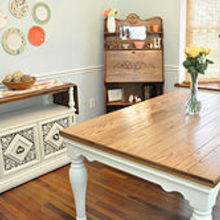 diy pottery barn farmhouse table knockoff, diy, painted furniture, woodworking projects, The table can comfortably seat six w o the leaf or 8 with the leaf It looks great with the new plate wall my wife just finished