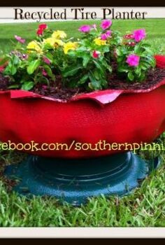 recycled tire planter project, flowers, gardening, repurposing upcycling