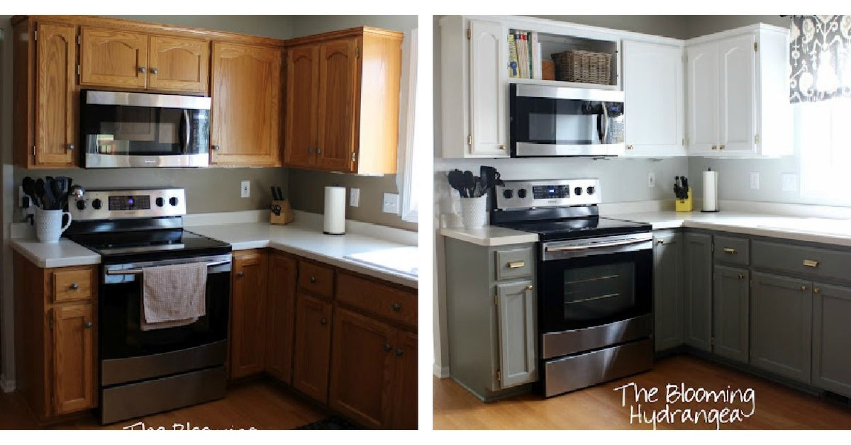 White Kitchen Oak from oak to awesome painted gray and white kitchen cabinets | hometalk