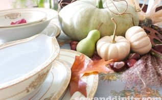 rustic vintage tablescape, seasonal holiday d cor, thanksgiving decorations, Vintage dishes fine linens and rustic fall elements