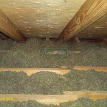 air seal your attic before insulating, home maintenance repairs, how to, Shoot this doesn t look too bad let s just spray some more cellulose in there well be good right Well maybe not so fast
