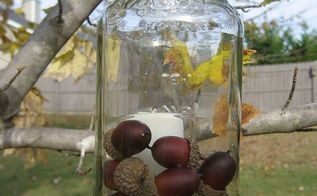 pottery barn inspired mason jar candles super easy and fun and practically free, crafts, mason jars, Even more fun outdoors