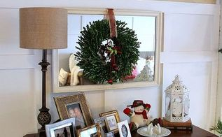 my holiday home tour first home tour ever, christmas decorations, seasonal holiday decor, DIY sign and some thrifted garage sale items on top of the antique dresser