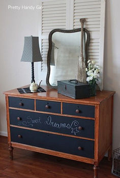 i got to collect and decorate for a family in need, chalk paint, chalkboard paint, doors, home decor, painting, repurposing upcycling, A plain wooden dresser got dressed up with chalkboard painted drawers The two tall white shutters add emphasis to the pretty vintage mirror giving the entire dresser more presence