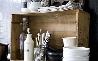 vintage wine crate storage in the kitchen how to get rid of woodworm, woodworking projects, A vintage wine crate adds a little wooden texture to my kitchen and provides extra storage