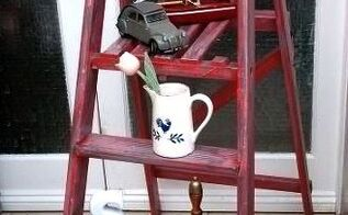 shabby chic vintage wooden step ladders red grey, painting, repurposing upcycling, shabby chic