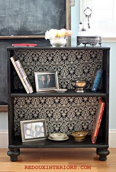 the best diy s upcycled furniture projects and tutorials by redoux, painted furniture, repurposing upcycling, Take an old stock bookshelf and transform it to an expensive Ballards Design Knockoff I added legs fabric backing and new paint finish