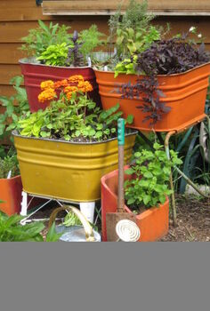 upcycling old wash tubs and chimney flues, gardening, repurposing upcycling, Our whimsical kitchen herb garden on rollers