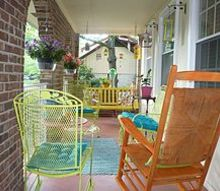 garden oasis on porch, outdoor furniture, outdoor living, porches, Added color and plants and it is now fabulous