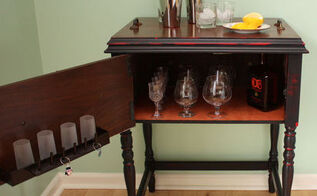 sewing cabinet upcycled into a bar cart, repurposing upcycling, After photo of sewing cabinet upcycled into a bar cart Top is a removable serving tray