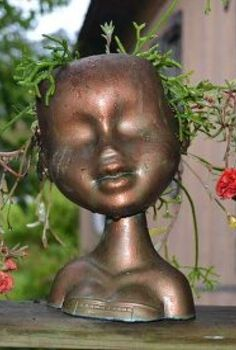 faux copper head planter, crafts, gardening, painting, repurposing upcycling, This is finished head planter