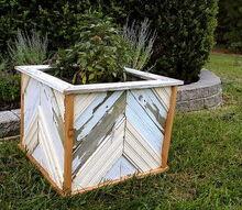 reclaimed wood planter, gardening, DIY chevron wood planter made from reclaimed fence and old bead board