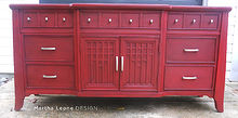 try this red technique on your next piece, chalk paint, painted furniture, The finished piece