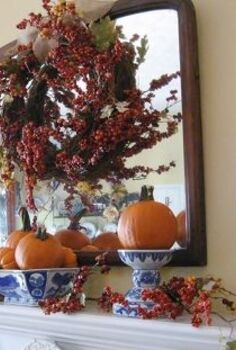 confessions of a plate addict s fall home tour, seasonal holiday d cor, Fall mantel decorated with blue and white pumpkins and bittersweet