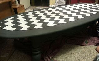 chevron coffee table, chalk paint, painted furniture, Just need to wax it yet