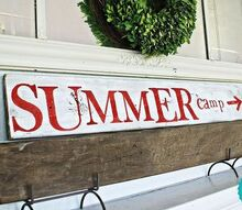 simple summer mantle, seasonal holiday decor, Just an old board that was leftover from some other project and red and white paint that we had around the house Throw in some stencils and there you go