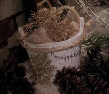 gearing up for january, home decor, seasonal holiday decor, wreaths, This little half bucket has had a rough life Grabbed up from Goodwill not even layers of white paint will cover up the marker writing Oh well it just adds to its character right
