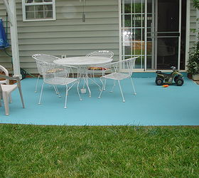 Diy Painting Concrete Patio Aqua, Concrete Masonry, Diy, Painting, Patio,  Finished SurgChick
