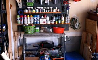 garage paint storage, cleaning tips, garages, shelving ideas, storage ideas, All my scrap wood pieces are stored in buckets to the side And painting tarps are now stored in the blue Rubbermaid bin to the side