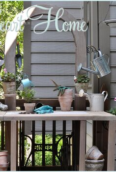 diy potting bench serving table, diy, flowers, gardening, outdoor furniture, outdoor living, painted furniture, I had an old Singer sewing machine base w a slab of even older marble on top that I d used as a potting bench for years It wasn t ideal though because the top was too small