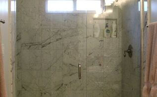 q how can i safely remove severe lime scale form marble shower tile, bathroom ideas, cleaning tips, tiling, I took care of cleaning the shower glass which looks great But the marble inside the shower is quite coated with white scale although hard to see in this photo