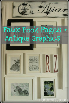 antique graphics faux book pages, home decor, repurposing upcycling