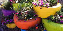 new craze old tire planters, gardening, repurposing upcycling, Via