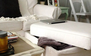 storage ideas for small spaces, home decor, painted furniture, storage ideas, Ottoman s are multifunctional pieces