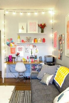 tips for decorating a dorm room, home decor, hang lights in room