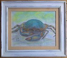 drawing of a blue crab for the myrtle beach house, painting, My take on a blue crab with a little more color than lifelike