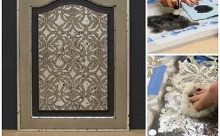 stencil how to using royal stencil size for a silver accented cabinet door, chalk paint, kitchen cabinets, painted furniture, repurposing upcycling, Silver Accented Door