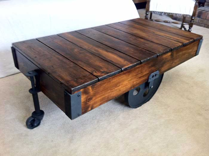 diy factory cart coffee table, painted furniture, woodworking projects,  This is the finished - DIY Factory Cart Coffee Table Hometalk